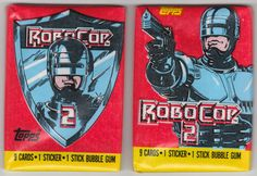 1990 Topps Robocop 2 Trading Cards:Set of 2 Unopened wax packs with one of each style wrapper, from the box fresh, unsearched, 9 cards and 1 sticker per pack. (2 sets available) Both for $2.50