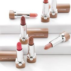 New Nudes from #MarcJacobs! A curated collection of nourishing neutral lipsticks for the perfect nude shade.
