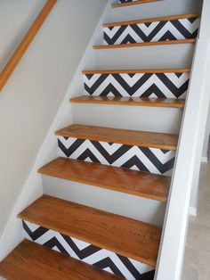 It's time to step it up! Reconsider traditional runners and boring banisters as decor opportunities. Get some DIY tips to style your staircase. Entry Way Design, Foyer Design, Staircase Design, House Design, Stenciled Stairs, Painted Stairs, Floating Stairs, Stair Storage, Restaurant Design