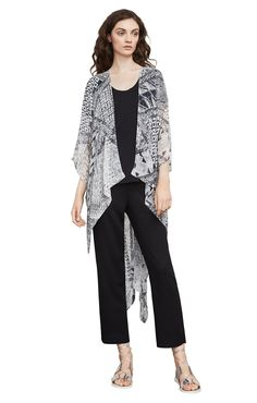 Finnigan Geometric High-Low Poncho Uncommon Threads, Black Abstract, Patrizia Pepe, High Low, Leather Pants, Kimono Top, Coat, Jackets, Collection