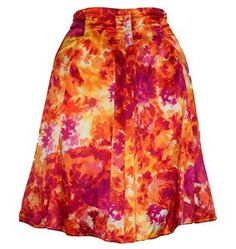 Womens #Skirt Size 16 Pleated Satin Print #Pink Yellow Orange White #23rdSt New #summer teamsellit