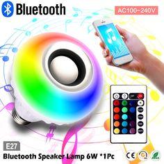 Wireless Bluetooth RGB LED Light Speaker Bulb E27 12W Music Playing lamp Remote #AGPtek
