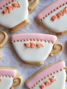 Taza de té blanco elegante decorado galletas  docena
