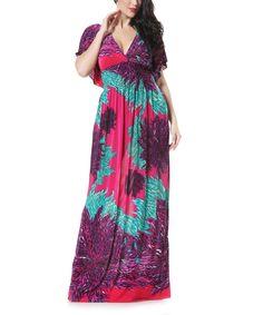 Purple Floral Cape-Sleeve Maxi Dress - Plus Too