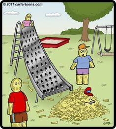 Cartoon: Cheese Slide (medium) by cartertoons tagged grater,slide,cheese,playground,kids,shred,cheddar,swiss
