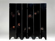 "Screen with 6 panels ""Fish"", Jean Dunand. Signed. Black and colored lacquer. France, circa 1927."