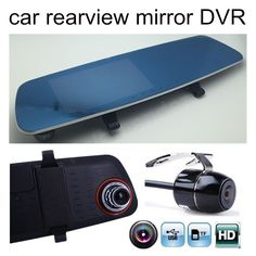 5 inch Blue Mirror Dual lens car auto DVR camera video recorder with rearview rear view camera Motion Detection camcorder