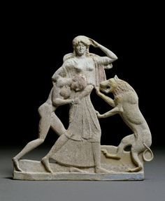 Terracotta relief with Peleus and Thetis. A lion indicates one of Thetis's transformations.       Classical Greek - 490BC-470BC (circa)