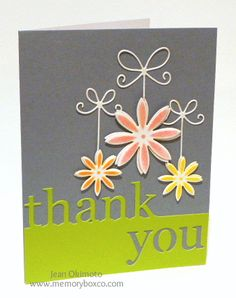 Thank you card,  Love the way the thank you is cut out.  GG