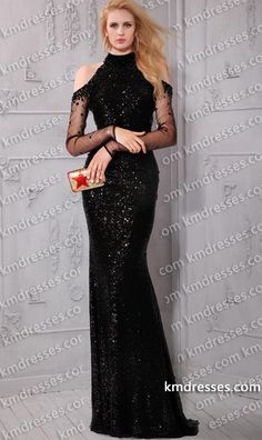 Cool Sequin Dresses high neck cold shoulder sophisticated beaded floor length dress.shown in black.... Check more at http://24shopping.gq/fashion/sequin-dresses-high-neck-cold-shoulder-sophisticated-beaded-floor-length-dress-shown-in-black/