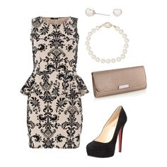 Women's outfit ideas - date night - girl's night out - chic - grown and sexy outfit - classy - louboutins - pearl earrings and necklace