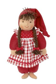 Kathe Kruse Waldorf Schatzi Plush Doll, Red