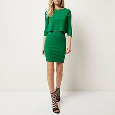 Green ribbed double layer dress - bodycon dresses - dresses - women