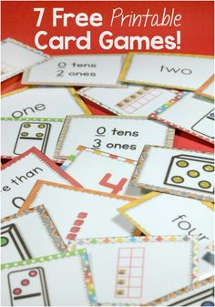 7 super fun free printable card games using the numbers to 5 for matching, adding, subtracting, multiplying and much more!