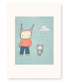 Bunny Rabbit Art Print - Mr Rabbit and Fred