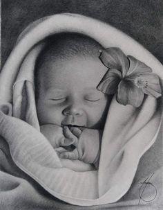 Hyperrealistische Zeichnung eines Kindes - Baby Sarah, von JournalMTW