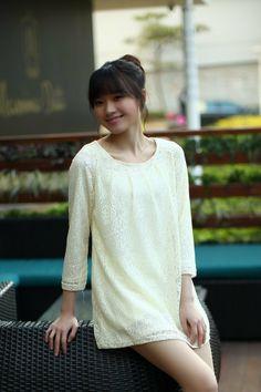 Fashoin Enchating Dizzying White Lace round neck Long Sleeve Plain Fashion Dresses JC086-1 US$23.4