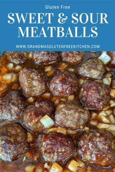 These gluten free meatballs are covered in a tangy sweet and sour sauce that will leave you wanting more. A super easy weeknight meal idea. #easyglutenfree #glutenfreemeatballs #weeknightmealideas Easy Weeknight Meals, Quick Meals, Gluten Free Meatballs, Gluten Free Bread Crumbs, Gluten Free Kitchen, Sweet And Sour Meatballs, Cooking Time, Gluten Free Recipes, Barbeque Sauce