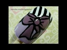 Bow and Stripes - Lulu Guinness Inspired Nail Art Tutorial