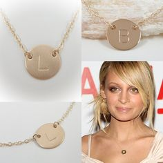 "http://www.popularclothingstyles.com/category/initial-necklace/ Gold Filled - Initial Necklace - Tiny 1/2"" Initial Disc - Personalized Jewelry - Celebrity Inspired Jewelry - Celebrity Style"