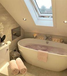Glamorous Bathroom, Modern Bathroom, Small Attic Bathroom, Dream Bathrooms, Dream Rooms, Attic Renovation, Attic Remodel, Dream Apartment, Aesthetic Rooms