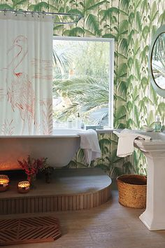Inspiration from Bathrooms.com: LePetitChouchou, Cole & Son Palm Jungle wallpaper