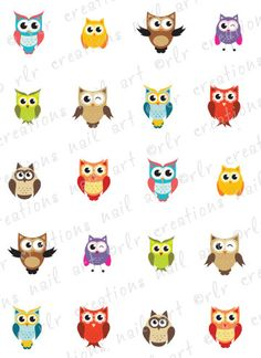 20 Nail Decals Summertime COLORFUL OWLS  by RLRCreationsNailArt, $2.25
