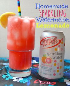 Homemade Sparkling Watermelon Lemonade #DrinkVintage