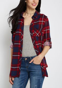 image of Red Plaid Challis Button Down