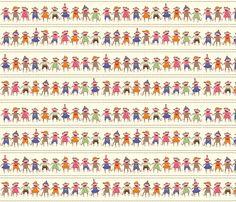 Sock Monkey Manners border stripe fabric by bzbdesigner on Spoonflower - custom fabric