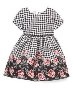 Rose Houndstooth & Rose Dress - Infant, Toddler & Girls #zulily #zulilyfinds