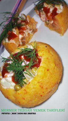 Mermer tezgah yemek tarifleri: patates çanağında rus salatası