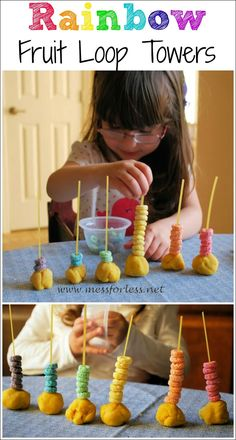 Rainbow Fruit Loop Towers - I love how this combines fine motor skills with fun rainbow activities. And math skills! Rainbow Activities, Sensory Activities, Learning Activities, Preschool Activities, Kids Learning, Sensory Rooms, Physical Activities, Motor Skills Activities, Fine Motor Skills