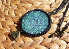 macrame mandala necklace with brass buddha and beads by QuetzArt