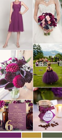plum wedding color ideas and bridesmaid dresses trends for autumn wedding 2015