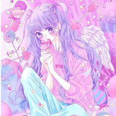 Manga Anime Girl, Cool Anime Girl, Hot Anime Boy, Manga Love, Anime Chibi, Kawaii Art, Kawaii Anime, Anime Purple Hair, Animes Yandere