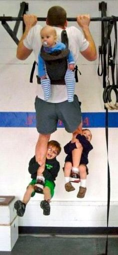 No need to go to the gym when you have small children. Just hook them on and lift! :D -- < found when I pinned ... https://www.pinterest.com/pin/507710557969026968/ >
