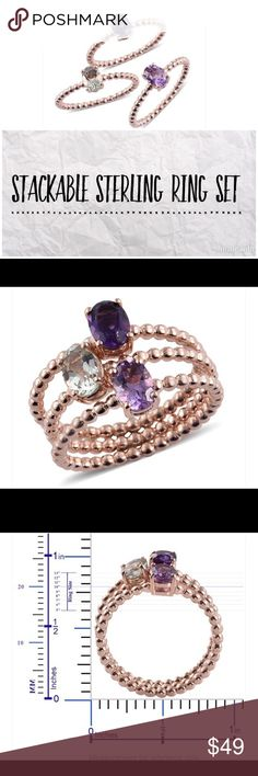 Sterling Stackable Ring Set - 3 This is for a Everlasting by Katie Rooke stackable ring set. It includes a pink amethyst, purple amethyst and green amethyst. The settings are 14K rose gold over solid Sterling silver. 2.15 total carat weight, approx .71 carat per ring. Set of three(3) rings pictured. Everlasting by Katie Rooke Jewelry Rings