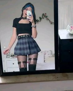 Sexy Plaid High Waist Pleated Mini School Skirt Material 100 Cotton Waistline Emrpire Pattern Type Plaid Silhouette Pleated Style Preppy Style Gender Women Dresses Length Above Knee Mini Edgy Outfits, Cute Casual Outfits, Mode Outfits, School Skirt Outfits, Goth Girl Outfits, Weird Outfits, School Skirts, Soft Grunge Outfits, Gothic Outfits