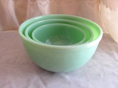 Fire King Jadeite Beaded Edge Mixing Bowl Set by VintageLoversShop