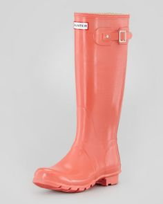 Hunter Boot Original Gloss Welly Boot, Flame Coral - Neiman Marcus