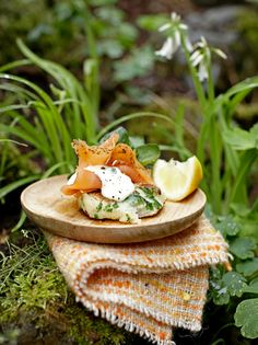 Irish potato cakes with smoked salmon