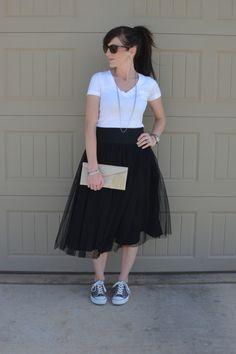Casual Friday Link Up ~ Tulle Skirts with Chucks!  Casual and cute!