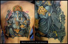 Ganesha tattoo WIP 8 by grimmy3d.deviantart.com on @DeviantArt