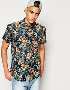 Image 1 of Jack & Jones Short Sleeve Shirt with All Over Floral Print