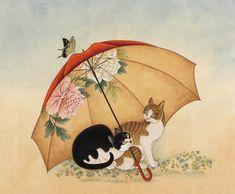 묘猫한 기다림 Korean Traditional, Traditional Art, Korean Art, Asian Art, I Love Cats, Crazy Cats, Oriental Cat, Japanese Cat, Cat Sketch