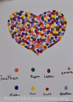 Fingerprint Heart Project - wouldn't this be fun to do with your family, then send it to your sponsored child. <3