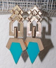 Cocktail Artistic Bold Exotic Gold Toned Alloy Statement Earrings Drop Dangle #DropDangle