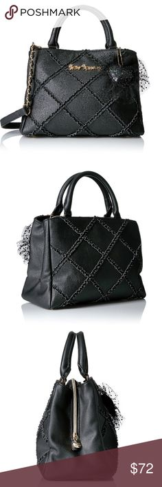Betsey Johnson Black Cross Your Heart Satchel NWT Betsey Johnson Black Cross Your Heart Satchel / Shoulder Bag with Tulle Ruffle Heart Fob.             This darling satchel and its roomy silhouette fits all your essentials and gets a lady-like a twist with a playful ruffle pattern. Diagonal crosshatch ruffled applique • Double-rolled handles; adjustable crossbody strap with woven chain accent • Removable Tulle heart dangle Fully lined interior • Center divider zippered pocket • Double pocket…