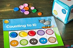 Free Printable Button Counting Grid Game for Preschool - Life Over Cs